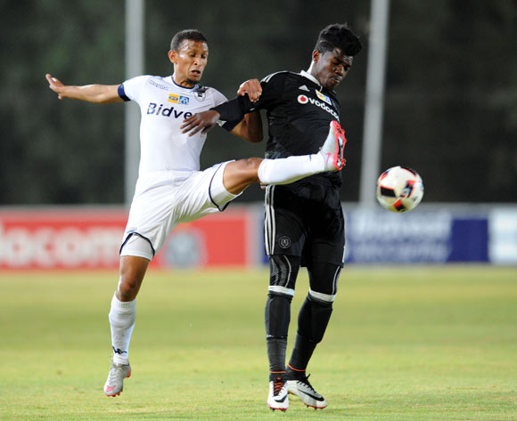 Ayanda Nkosi of Orlando Pirates is challenged by Nazeer Allie of Bidvest Wits  during the MTN8 match between Buidvest Wits and Orlando Pirates 27 August 2016 at Bidvest Stadium Pic Sydney Mahlangu/ BackpagePix