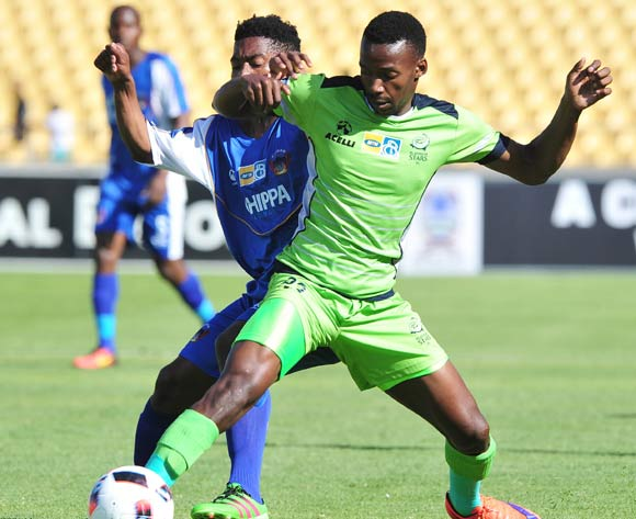 Siphiwe Mnguni of Platinum Stars challenged by Buyani Sali of Chippa United during the MTN8 Quarter Final football match between Platinum Stars and Chippa United at the Royal Bafokeng Stadium in Rustenburg, South Africa on August 27, 2016 ©Samuel Shivambu/BackpagePix