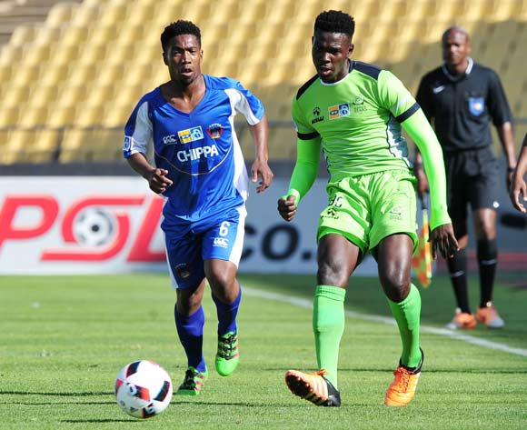 Thamsanqa Gwabeni of Platinum Stars challenged by Buyani Sali of Chippa United during the MTN8 Quarter Final football match between Platinum Stars and Chippa United at the Royal Bafokeng Stadium in Rustenburg, South Africa on August 27, 2016 ©Samuel Shivambu/BackpagePix