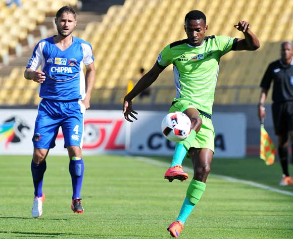 Siphiwe Mnguni of Platinum Stars challenged by Marc Van Heerden of Chippa United during the MTN8 Quarter Final football match between Platinum Stars and Chippa United at the Royal Bafokeng Stadium in Rustenburg, South Africa on August 27, 2016 ©Samuel Shivambu/BackpagePix