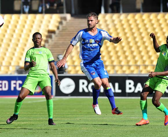 Marc Van Heerden (c) of Chippa United challenged by Ndumiso Mabena (l) Siphiwe Mnguni (r) of Platinum Stars during the MTN8 Quarter Final football match between Platinum Stars and Chippa United at the Royal Bafokeng Stadium in Rustenburg, South Africa on August 27, 2016 ©Samuel Shivambu/BackpagePix