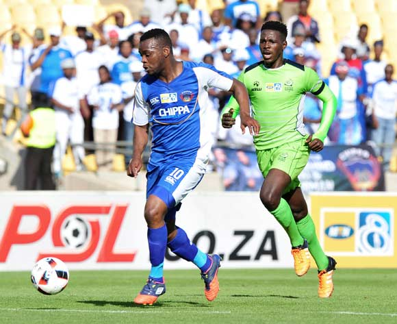 Andile Mbenyane of Chippa United challenged by Thamsanqa Gwabeni of Platinum Stars during the MTN8 Quarter Final football match between Platinum Stars and Chippa United at the Royal Bafokeng Stadium in Rustenburg, South Africa on August 27, 2016 ©Samuel Shivambu/BackpagePix