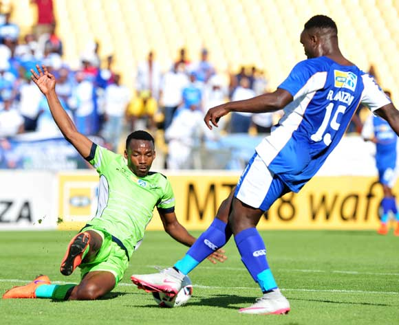 Rhulani Manzini of Chippa United challenged by Siphiwe Mnguni of Platinum Stars during the MTN8 Quarter Final football match between Platinum Stars and Chippa United at the Royal Bafokeng Stadium in Rustenburg, South Africa on August 27, 2016 ©Samuel Shivambu/BackpagePix