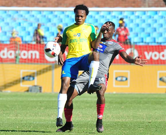 Percy Tau of Mamelodi Sundowns challenged by Onismor Bhasera of Supersport United during the MTN8 Quarter Final football match between Mamelodi Sundowns and Supersport United at the Loftus Stadium in Pretoria, South Africa on August 28, 2016 ©Samuel Shivambu/BackpagePix