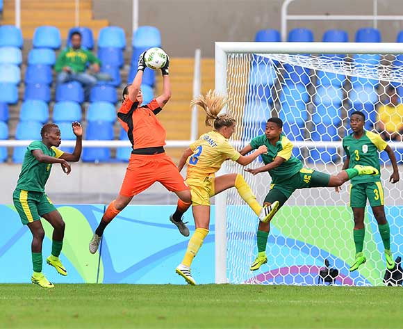 Roxanne	Barker of South Africa claims ball from Linda Sembrant of Sweden  during the 2016 Rio Olympic  Games Women Football match between South Africa and Sweden at the Olympic Stadium in Rio de Janeiro, Brazil on 03 August 2016 ©Gavin Barker/BackpagePix