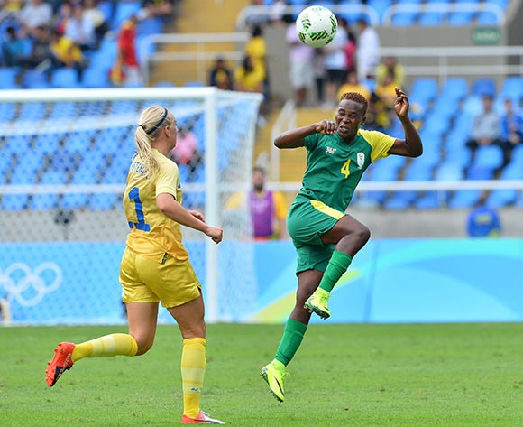 Noko Matlou of South Africa wins header against Stina Blackstenius of Sweden during the 2016 Rio Olympic  Games Women Football match between South Africa and Sweden at the Olympic Stadium in Rio de Janeiro, Brazil on 03 August 2016 ©Gavin Barker/BackpagePix