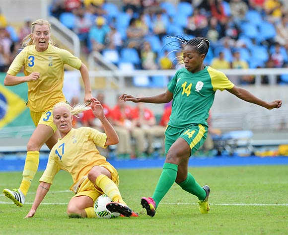 Caroline Seger of Sweden wins tackle against Emilia Appelqvist of Sweden during the 2016 Rio Olympic  Games Women Football match between South Africa and Sweden at the Olympic Stadium in Rio de Janeiro, Brazil on 03 August 2016 ©Gavin Barker/BackpagePix