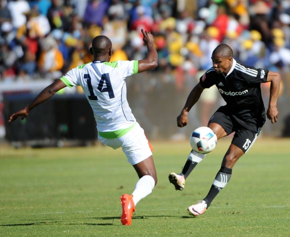 Thabo Qalinge of Orlando Pirates is challenged by Tintswalo Tshabalala of Platinum Stars  during the 2016 Maize Cup match between Platinum Stars and Orlando Pirates  13 August 2016 at Moruleng Stadium Pic Sydney Mahlangu/ BackpagePix