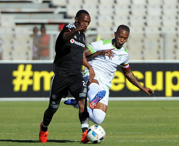 Thabo Rakhale of Orlando Pirates is challenged by Vuyo Mere of Platinum Stars  during the 2016 Maize Cup match between Platinum Stars and Orlando Pirates  13 August 2016 at Moruleng Stadium Pic Sydney Mahlangu/ BackpagePix