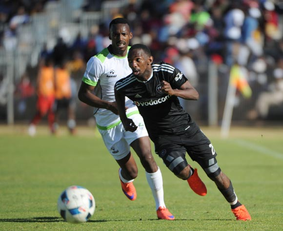 Thabo Rakhale of Orlando Pirates is challenged by Siphiwe Mnguni of Platinum Stars  during the 2016 Maize Cup match between Platinum Stars and Orlando Pirates  13 August 2016 at Moruleng Stadium Pic Sydney Mahlangu/ BackpagePix