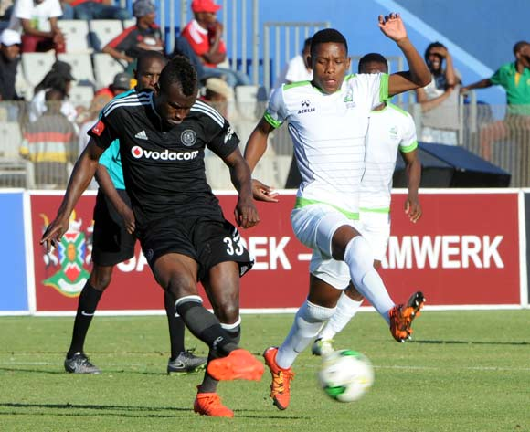 Edwin Gyimah of Orlando Pirates is challenged by Katlego Khunou of Platinum Stars  during the 2016 Maize Cup match between Platinum Stars and Orlando Pirates  13 August 2016 at Moruleng Stadium Pic Sydney Mahlangu/ BackpagePix