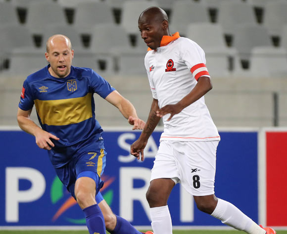 Jabulani Maluleke of Polokwane City gets away from Matt Sim of Cape Town City FC during the Absa Premiership 2016/17 football match between Cape Town City FC and Polokwane City at Cape Town Stadium, Cape Town on 23 August 2016 ©Chris Ricco/BackpagePix