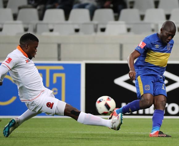 Aubrey Modiba of Cape Town City FC evades challenge from Tshepho Tema of Polokwane City during the Absa Premiership 2016/17 football match between Cape Town City FC and Polokwane City at Cape Town Stadium, Cape Town on 23 August 2016 ©Chris Ricco/BackpagePix