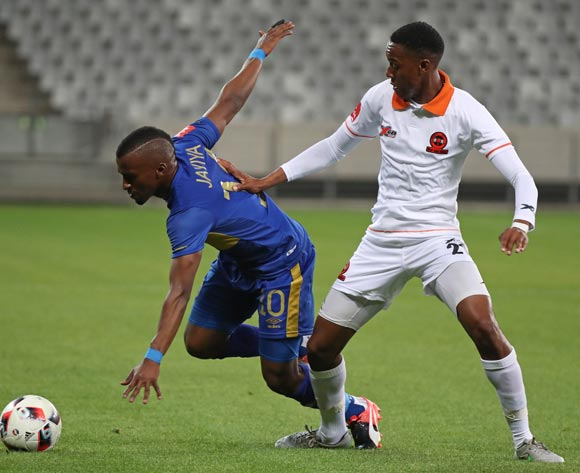 Bhongolethu Jayiya of Cape Town City FC tackled by Sammy Seabi of Polokwane City during the Absa Premiership 2016/17 football match between Cape Town City FC and Polokwane City at Cape Town Stadium, Cape Town on 23 August 2016 ©Chris Ricco/BackpagePix