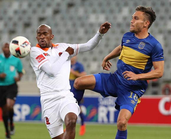 James Brown of Cape Town City FC battles for the ball with Sibusiso Mbonani of Polokwane City during the Absa Premiership 2016/17 football match between Cape Town City FC and Polokwane City at Cape Town Stadium, Cape Town on 23 August 2016 ©Chris Ricco/BackpagePix