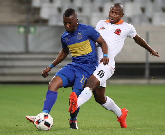 Bhongolethu Jayiya of Cape Town City FC tackled by Puleng Tlolane of Polokwane City during the Absa Premiership 2016/17 football match between Cape Town City FC and Polokwane City at Cape Town Stadium, Cape Town on 23 August 2016 ©Chris Ricco/BackpagePix