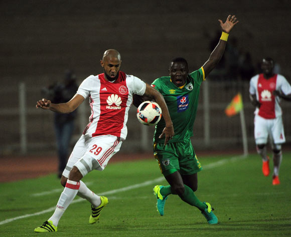 Nathan Paulse of Ajax Cape Town is challenged by Phineas Ravhuhali of Baroka FC  during the Absa Premiership match between Baroka FC and Ajax Cape Town  23 August 2016 at Old Peter Mokaba Stadium Pic Sydney Mahlangu/ BackpagePix