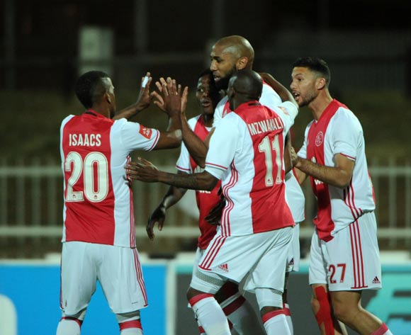 Nathan Paulse of Ajax Cape Town celebrates a goal with teammates  during the Absa Premiership match between Baroka FC and Ajax Cape Town  23 August 2016 at Old Peter Mokaba Stadium Pic Sydney Mahlangu/ BackpagePix