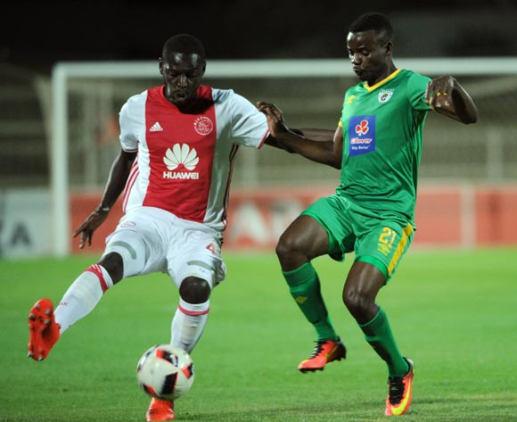 Erick Chipeta of Ajax Cape Town is challenged by Sipho Moeti of Baroka FC  during the Absa Premiership match between Baroka FC and Ajax Cape Town  23 August 2016 at Old Peter Mokaba Stadium Pic Sydney Mahlangu/ BackpagePix