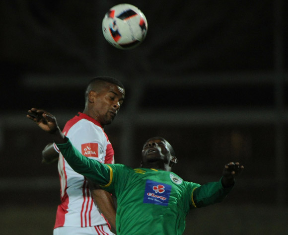 Erwin Isaacs of Ajax Cape Town is challenged by Albert Mothupa of Baroka FC  during the Absa Premiership match between Baroka FC and Ajax Cape Town  23 August 2016 at Old Peter Mokaba Stadium Pic Sydney Mahlangu/ BackpagePix