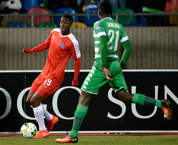 Evans Rusike from Maritzburg United and Robert Sanikara from Bloemfontein Celtic FC during the Absa Premiership match between Bloemfontein Celtic FC and Maritzburg United at Dr Molemela Stadium on 24 August 2016. ©Gerhard Steenkamp/Backpage Media