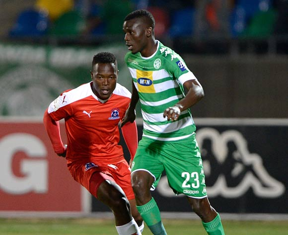 Vusi Shikweni from Bloemfontein Celtic FC and Brian Onyango from Maritzburg United during the Absa Premiership match between Bloemfontein Celtic FC and Maritzburg United at Dr Molemela Stadium on 24 August 2016. ©Gerhard Steenkamp/Backpage Media