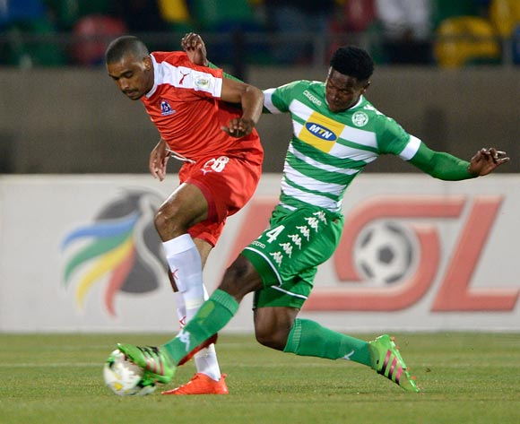 Bandile Shandu from Maritzburg United and Sinawo Masana from Bloemfontein Celtic FC during the Absa Premiership match between Bloemfontein Celtic FC and Maritzburg United at Dr Molemela Stadium on 24 August 2016.©Gerhard Steenkamp/Backpagepix