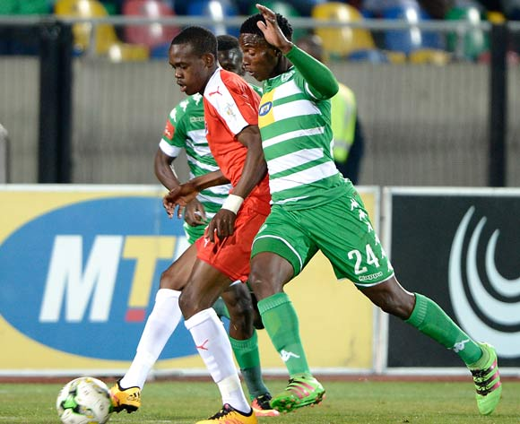 Sinawo Masana from Bloemfontein Celtic FC and Blessing Moyo from Maritzburg United during the Absa Premiership match between Bloemfontein Celtic FC and Maritzburg United at Dr Molemela Stadium on 24 August 2016. ©Gerhard Steenkamp/Backpage Media