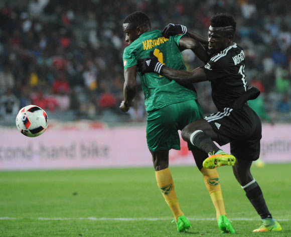 Bernard Morrison of Orlando Pirates is challenged by Chris Katjiukua of Golden Arrows during the Absa Premiership match between Orlando Pirates and Golden Arrows  23 August 2016 at Orlando Stadium Pic Sydney Mahlangu/ BackpagePix