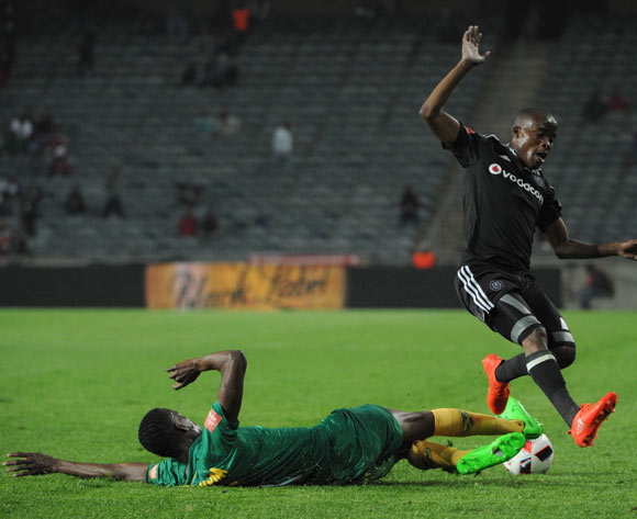 Thabo Matlaba of Orlando Pirates is challenged by Chris Katjiukua of Golden Arrows during the Absa Premiership match between Orlando Pirates and Golden Arrows  23 August 2016 at Orlando Stadium Pic Sydney Mahlangu/ BackpagePix