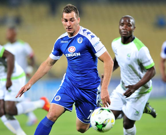 Bradley Grobler of Supersport United challenged by Sboniso Gumede of Platinum Stars during the Absa Premiership match between Platinum Stars and Supersport United at the Royal Bafokeng Stadium in Rustenburg, South Africa on August 24, 2016 ©Samuel Shivambu/BackpagePix