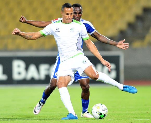 Henrico Botes of Platinum Stars challenged by Onismor Bhasera of Supersport United during the Absa Premiership match between Platinum Stars and Supersport United at the Royal Bafokeng Stadium in Rustenburg, South Africa on August 24, 2016 ©Samuel Shivambu/BackpagePix