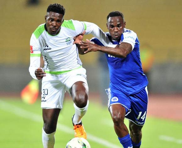 Thamsanqa Gwabeni of Platinum Stars challenged by Onismor Bhasera of Supersport United during the Absa Premiership match between Platinum Stars and Supersport United at the Royal Bafokeng Stadium in Rustenburg, South Africa on August 24, 2016 ©Samuel Shivambu/BackpagePix