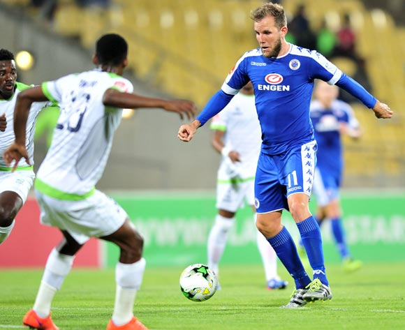 Jeremy Brockie of Supersport United challenged by Siphiwe Mnguni of Platinum Stars during the Absa Premiership match between Platinum Stars and Supersport United at the Royal Bafokeng Stadium in Rustenburg, South Africa on August 24, 2016 ©Samuel Shivambu/BackpagePix