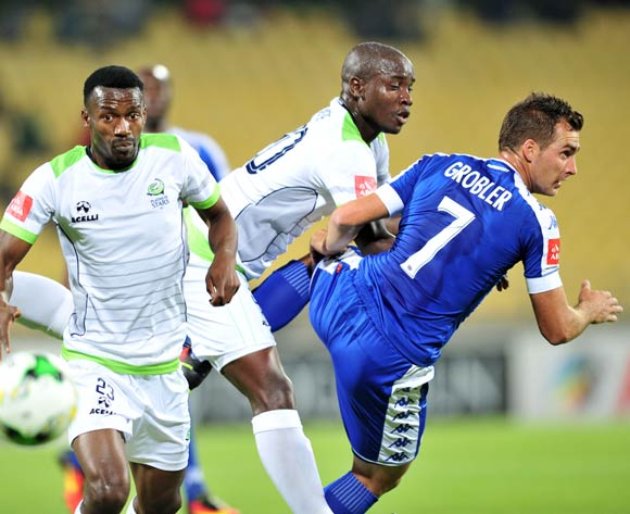 Siphiwe Mnguni (l) of Platinum Stars challenged by Bradley Grobler of Supersport United during the Absa Premiership match between Platinum Stars and Supersport United at the Royal Bafokeng Stadium in Rustenburg, South Africa on August 24, 2016 ©Samuel Shivambu/BackpagePix