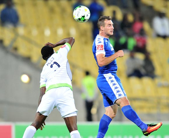 Bradley Grobler of Supersport United challenged by Sphamandla Mlilo of Platinum Stars during the Absa Premiership match between Platinum Stars and Supersport United at the Royal Bafokeng Stadium in Rustenburg, South Africa on August 24, 2016 ©Samuel Shivambu/BackpagePix