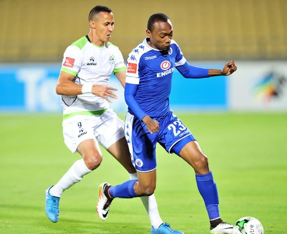 Thabo Mnyamane of Supersport United challenged by Henrico Botes of Platinum Stars during the Absa Premiership match between Platinum Stars and Supersport United at the Royal Bafokeng Stadium in Rustenburg, South Africa on August 24, 2016 ©Samuel Shivambu/BackpagePix