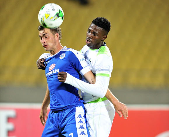Bradley Grobler of Supersport United challenged by Thamsanqa Gwabeni of Platinum Stars during the Absa Premiership match between Platinum Stars and Supersport United at the Royal Bafokeng Stadium in Rustenburg, South Africa on August 24, 2016 ©Samuel Shivambu/BackpagePix