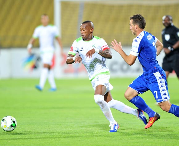 Vuyo Mere of Platinum Stars challenged by Bradley Grobler of Supersport United during the Absa Premiership match between Platinum Stars and Supersport United at the Royal Bafokeng Stadium in Rustenburg, South Africa on August 24, 2016 ©Samuel Shivambu/BackpagePix