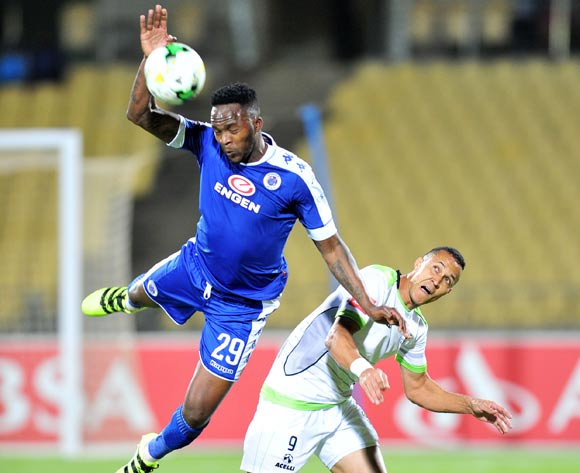 Morgan Gould of Supersport United challenged by Henrico Botes of Platinum Stars during the Absa Premiership match between Platinum Stars and Supersport United at the Royal Bafokeng Stadium in Rustenburg, South Africa on August 24, 2016 ©Samuel Shivambu/BackpagePix