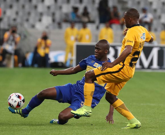Mpho Matsi of Cape Town City FC battles for the ball with Bernard Parker of Kaizer Chiefs during the 2016/17 MTN8 Quarter Final football match between Cape Town City FC and Kaizer Chiefs at Cape Town Stadium, Cape Town on 26 August 2016 ©Chris Ricco/BackpagePix