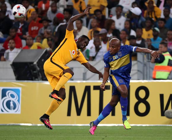 Lebogang Manyama of Cape Town City FC battles for the ball with Kgotso Moleko of Kaizer Chiefs during the 2016/17 MTN8 Quarter Final football match between Cape Town City FC and Kaizer Chiefs at Cape Town Stadium, Cape Town on 26 August 2016 ©Chris Ricco/BackpagePix