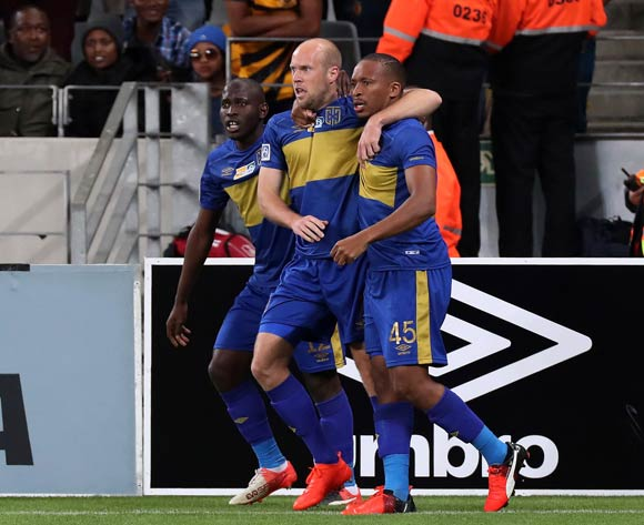Matt Sim of Cape Town City FC celebrates goal with teammate Lehlohonolo Majoro of Cape Town City FC (r) and Aubrey Modiba of Cape Town City FC (l) during the 2016/17 MTN8 Quarter Final football match between Cape Town City FC and Kaizer Chiefs at Cape Town Stadium, Cape Town on 26 August 2016 ©Chris Ricco/BackpagePix