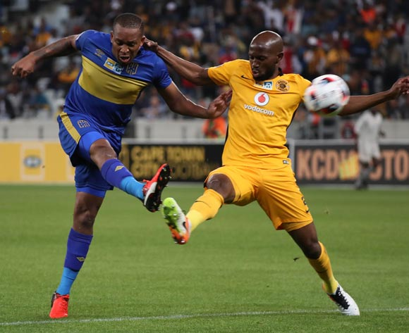 Lehlohonolo Majoro of Cape Town City FC battles for the ball with Ramahlwe Mphahlele of Kaizer Chiefs during the 2016/17 MTN8 Quarter Final football match between Cape Town City FC and Kaizer Chiefs at Cape Town Stadium, Cape Town on 26 August 2016 ©Chris Ricco/BackpagePix