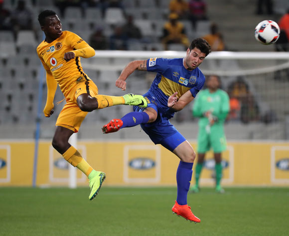 Roland Putsche of Cape Town City FC battles for the ball with Edmore Chirambadare of Kaizer Chiefs during the 2016/17 MTN8 Quarter Final football match between Cape Town City FC and Kaizer Chiefs at Cape Town Stadium, Cape Town on 26 August 2016 ©Chris Ricco/BackpagePix