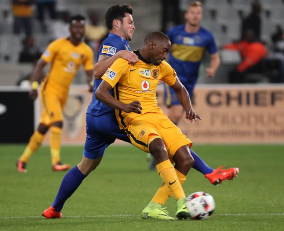 Roland Putsche of Cape Town City FC battles for the ball with Bernard Parker of Kaizer Chiefs  during the 2016/17 MTN8 Quarter Final football match between Cape Town City FC and Kaizer Chiefs at Cape Town Stadium, Cape Town on 26 August 2016 ©Chris Ricco/BackpagePix