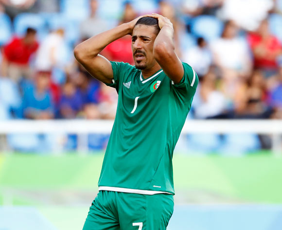 Baghdad Bounedjah of Algeria reacts during the men's group D preliminary round match of the Rio 2016 Olympic Games Soccer tournament EPA/DIEGO AZUBEL