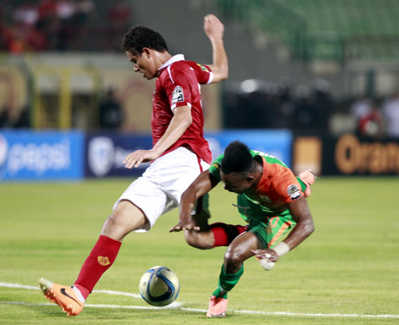 epa05478570 Al Ahly's player Saad Samir (L)  in action  against  Zesco United  player  John Ching'andu (R) during the African Champions League (CAF) grou stage match between Al Ahly and  Zesco United  at military Stadium in Suez, Egypt, 12  August 2016.  EPA/KHALED ELFIQI