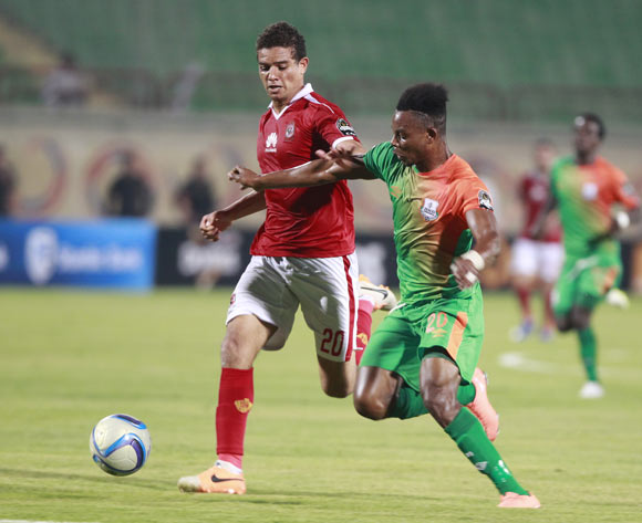 epa05478572 Al Ahly's player Saad Samir (L) in action  against Zesco United player John Ching'andu (R) during the African Champions League (CAF) grou stage match between Al Ahly and Zesco United at military Stadium in Suez, Egypt, 12  August 2016.  EPA/KHALED ELFIQI