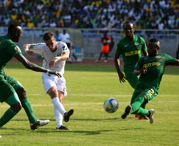 Sofiane Khadir of Mo Bjaia FC from Algeria shoots, during the 13th edition of CAF confederation Cup match at the National Stadium in Dar es Salaam, Tanzania, Suturday August 13, 2016. Young Africans FC won by 1-0. (Photo; KHALFAN SAID)
